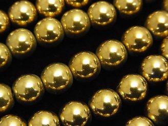 天然石卸 1連480円!ヘマタイト ラウンド8mm ゴールドコーティング 1連(約36cm)