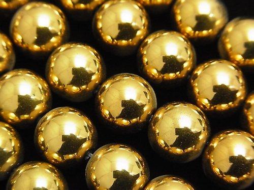 ヘマタイト ラウンド10mm ゴールドコーティング 1連(約38cm)