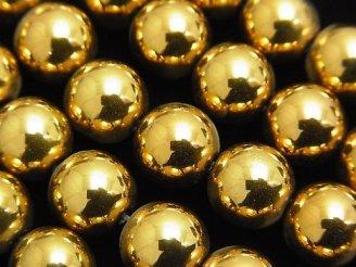天然石卸 1連580円!ヘマタイト ラウンド10mm ゴールドコーティング 1連(約38cm)