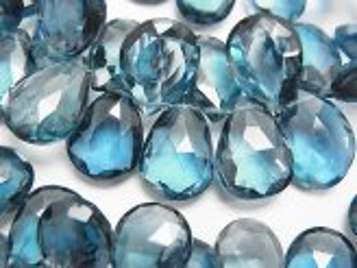 天然石卸 粒売り!宝石質ロンドンブルートパーズAAA ペアシェイプ ブリオレットカット 5粒