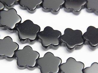 天然石卸 オニキス フラワーモチーフ10×10×3mm 半連/1連(約37cm)