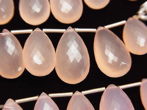【極上カット】宝石質ピンクカルセドニーAAA ペアシェイプ ブリオレットカット 1連(5粒)