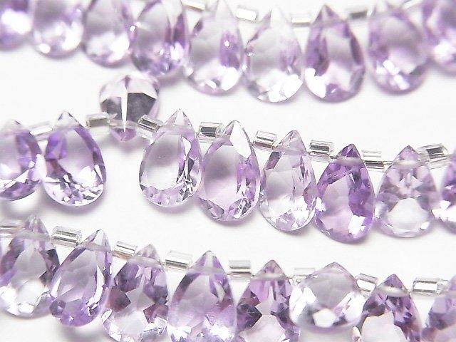宝石質ピンクアメジストAAA ペアシェイプファセットカット8×5mm 半連/1連(28粒)