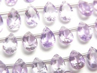 天然石卸 宝石質ピンクアメジストAAA ペアシェイプファセットカット8×5mm 半連/1連(30粒)