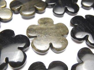 天然石卸 ゴールデンシャインオブシディアンAAA フラワー(お花)30×30mm 半連/1連(約32cm)