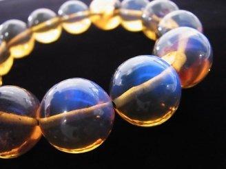 天然石卸 1点もの!稀少石!ドミニカ産ブルーアンバーAAAA- ラウンド16.5mm 1連(ブレス) NO.237