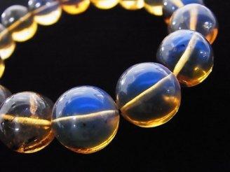 天然石卸 1点もの!稀少石!ドミニカ産ブルーアンバーAAAA- ラウンド13.5mm 1連(ブレス) NO.251