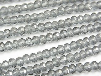 天然石卸 シルバーフラッシュクリスタル ボタンカット4×4×3mm 半連/1連(約38cm)