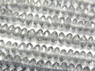 天然石卸 シルバーフラッシュクリスタル ボタンカット6×6×3mm 半連/1連(約38cm)
