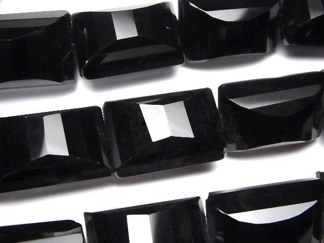 オニキス レクタングル×多面カット25×18×15mm 半連/1連(約36cm)