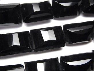 天然石卸 オニキス レクタングル×多面カット25×18×15mm 半連/1連(約36cm)
