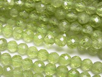 天然石卸 素晴らしい輝き!1連1,380円!宝石質ペリドットAAA- ラウンドカット4mm 1連(約37cm)