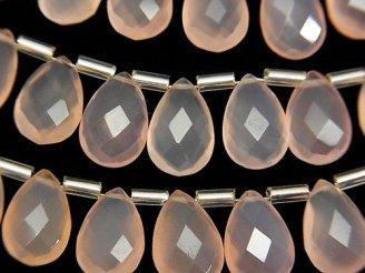 天然石卸 宝石質ピンクカラーカルセドニーAAA ペアシェイプ ブリオレットカット12×8mm 半連/1連(15粒)