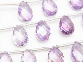 天然石卸 宝石質ピンクアメジストAAA ペアシェイプ ブリオレットカット12×8mm 半連/1連(10粒)