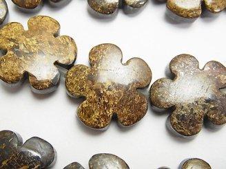 天然石卸 ブロンザイト フラワー(お花)20×20mm 半連/1連(約36cm)