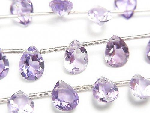 【動画】宝石質ピンクアメジストAAA ペアシェイプファセットカット8×6mm 1連(18粒)
