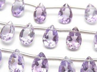 天然石卸 宝石質ピンクアメジストAAA ペアシェイプファセットカット9×6mm 半連/1連(20粒)