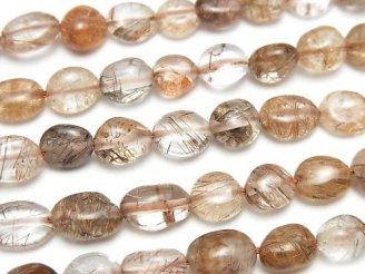 天然石卸 1連780円!ブロンズルチルクォーツAAA-〜AA++ 小粒タンブル 1連(約38cm)