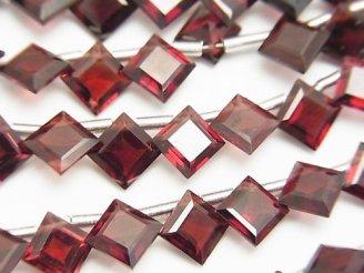 天然石卸 宝石質モザンビーク産ガーネットAAA ダイヤ プリンセスカット8×8mm 半連/1連(約18cm)