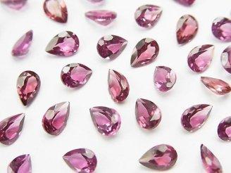 天然石卸 宝石質ピンク〜パープルガーネットAAA 穴なしペアシェイプ ファセットカット6×4×3mm 5粒480円!