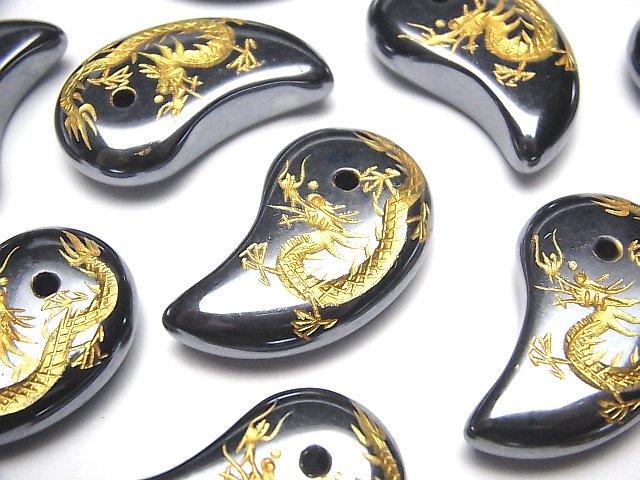 金色!【青龍・四神獣】の彫刻入り!高純度テラヘルツ鉱石 勾玉33×20mm 1個