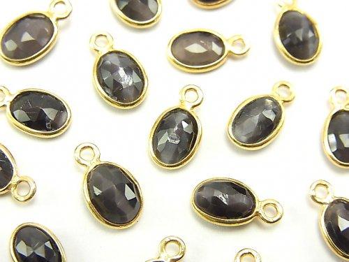 宝石質シリマナイト・キャッツアイAAA 枠留めローズカット8×6mm 【片カン】 18KGP 5個