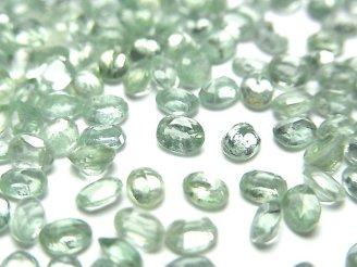 宝石質グリーンカイヤナイトAAA 穴なしオーバルファセットカット4×3mm 10粒980円!