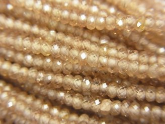 天然石卸 素晴らしい輝き!宝石質天然ジルコンAAA ボタンカット 半連/1連(約32cm)
