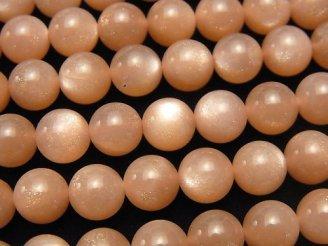 天然石卸 宝石質オレンジムーンストーンAAA- ラウンド8mm 1/4連〜1連(約38cm)