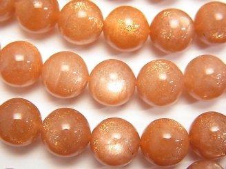 天然石卸 宝石質オレンジムーンストーンAAA- ラウンド10mm 1/4連〜1連(約37cm)