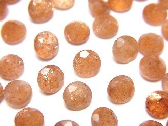 天然石卸 宝石質サンストーンAAA 穴なしラウンドファセットカット6×6mm 5粒780円!