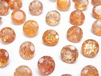 天然石卸 宝石質サンストーンAAA 穴なしラウンドファセットカット8×8×5mm 5粒1,680円!