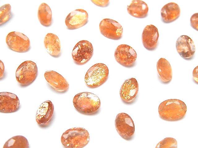 宝石質サンストーンAAA 穴なしオーバルファセットカット7×5mm 5粒