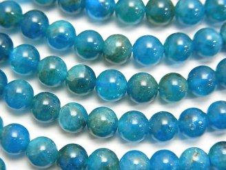 天然石卸 マダガスカル産ブルーアパタイトAA++ ラウンド6mm 半連/1連(約38cm)