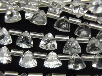 天然石卸 宝石質ホワイトトパーズAAA トライアングルファセットカット6×6×3mm 半連/1連(30粒)