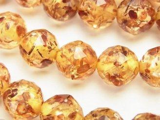 天然石卸 プレストアンバー(琥珀) トライアングルラウンドカット12mm 1/4連〜1連(約36cm)