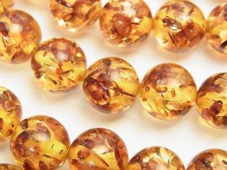 天然石卸 プレストアンバー(琥珀) ラウンド12mm 1/4連〜1連(約36cm)