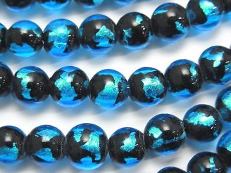 天然石卸 とんぼ玉 ラウンド8mm 【ライトブルー】 半連/1連(約34cm)