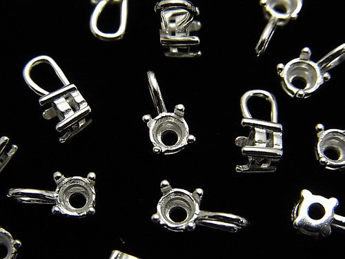 Silver925 チャーム・ペンダント空枠 ラウンドファセットカット4mm用 生地 1個