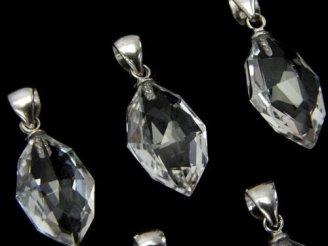 天然石卸 宝石質クリスタルAAA  多面カット入りペンダントトップ 【SS】【S】【M】 Silver925製