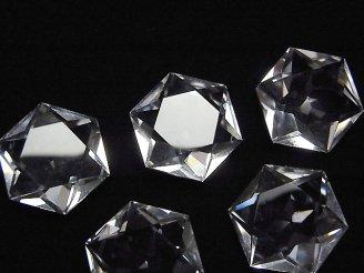 天然石卸 素晴らしい輝き!天然クリスタルAAA 六芒星カット17×17×7mm(穴なし) 裏面カット入り 1個