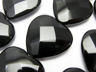 天然石卸 オニキスAAA 大粒縦穴ハートカット30×30×9mm 1/4連〜1連(約30cm)
