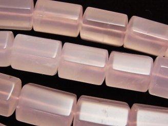 天然石卸 マダガスカル産ローズクォーツAA++ 6面チューブカット 【Sサイズ】 半連/1連(約38cm)