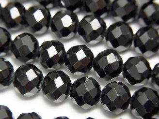【素晴らしい輝き】宝石質ブラックスピネルAAA セミラウンドカット6×6×5.5mm 半連/1連(約37cm)