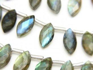 天然石卸 1連2,480円!宝石質ラブラドライトAA+ マーキスカット 10×5mm 1連(28粒)