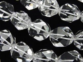 天然石卸 宝石質クリスタルAAA 20面ラウンドカット18mm 1/4連〜1連(約36cm)