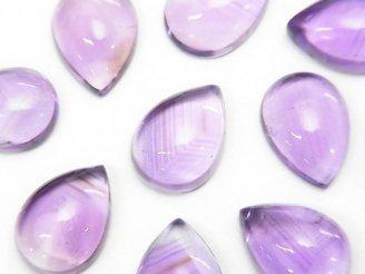 天然石卸 宝石質アメジストAAA- ペアシェイプ型カボション14×10mm 3個1,580円!