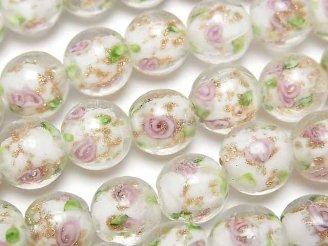 天然石卸 1連680円!とんぼ玉 ラウンド12mm 薔薇(ローズ)模様入り 【ホワイト】 1連(約35cm)