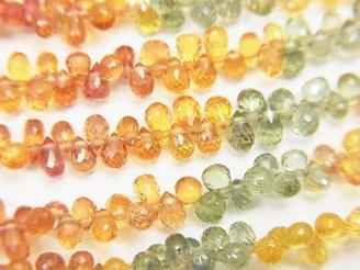 天然石卸 宝石質マルチカラーサファイアAAA ドロップ ブリオレットカット 半連/1連(約18cm)