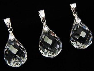 天然石卸 1個980円!宝石質クリスタルAAA ドロップカット ペンダントトップ18×13×13mm Silver925製